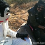 Jimmy and Steve chillin' on a couch in the desert.